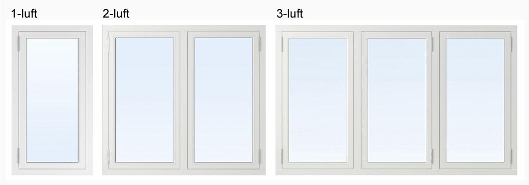 enluftsfönster - tvåluftsfönster - treluftsfönster