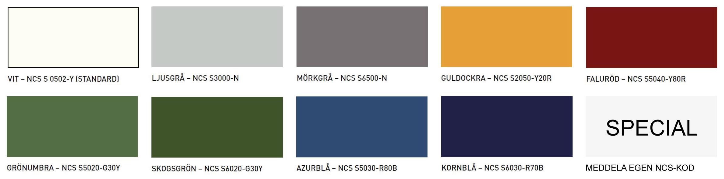 NCS-färger för alu- & träfönster